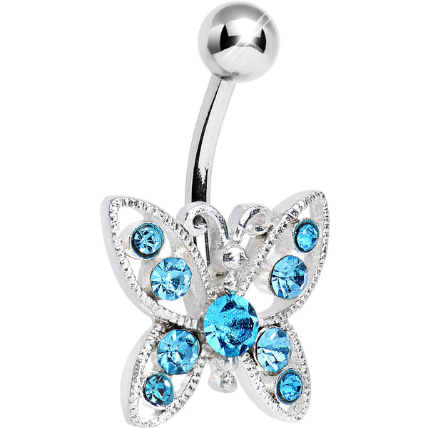 Aqua Gem Glamorous Butterfly Belly Ring