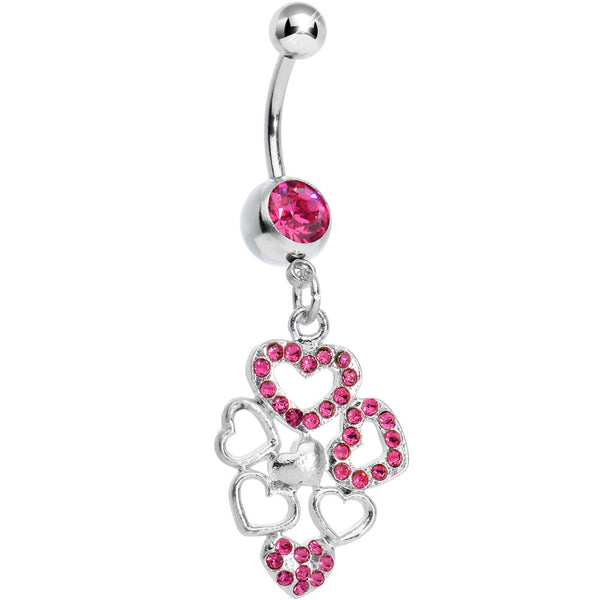 Pink Gem Clusters of Love Heart Dangle Belly Ring