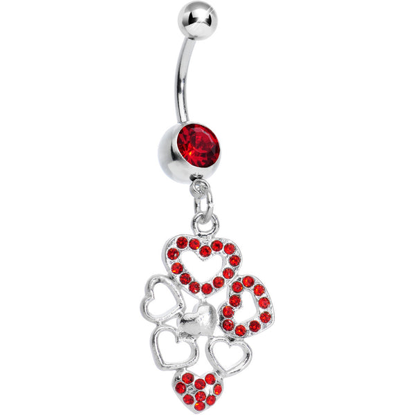 Red Gem Clusters of Love Heart Dangle Belly Ring