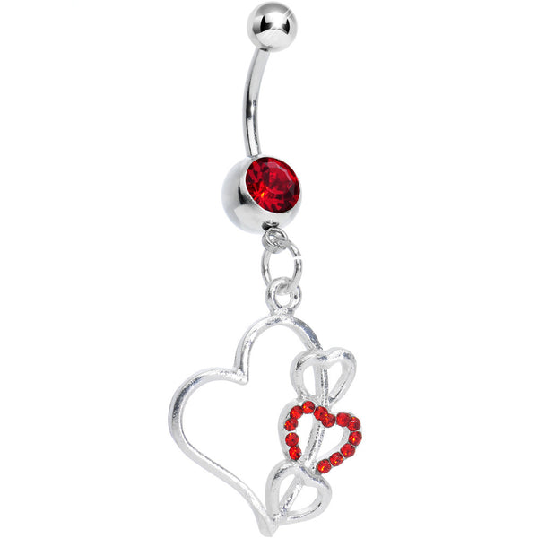 Red Gem Hollow Heart Triple Dangle Belly Ring