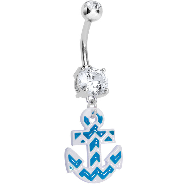 Clear Gem Blue and White Chevron Anchor Dangle Belly Ring