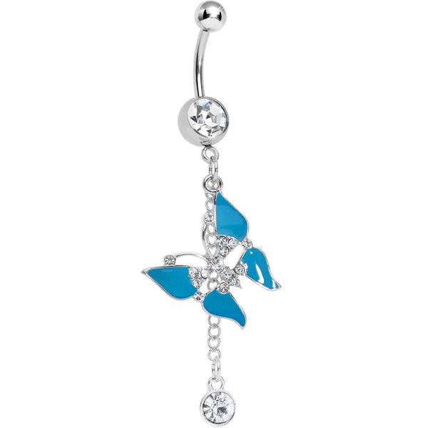 Clear Gem Mystical Aqua Wings Butterfly Chain Dangle Belly Ring