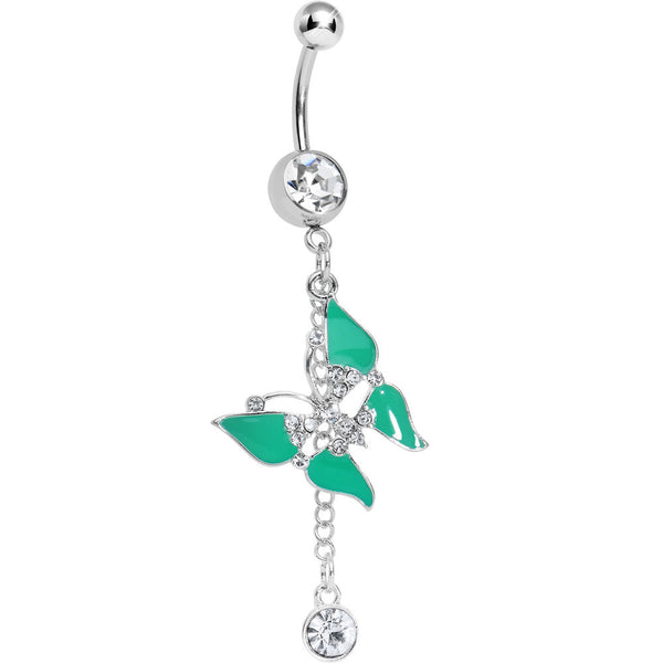 Clear Gem Mystical Green Wings Butterfly Chain Dangle Belly Ring