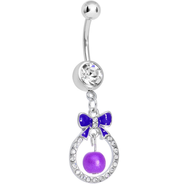 Clear Gem Purple Bow Wreathed Faux Pearl Dangle Belly Ring