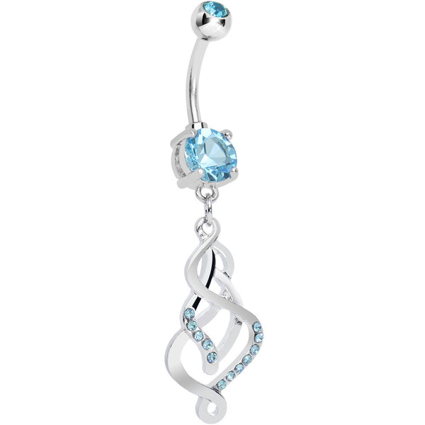 Double Aqua Gem Twisting Illusion Dangle Belly Ring