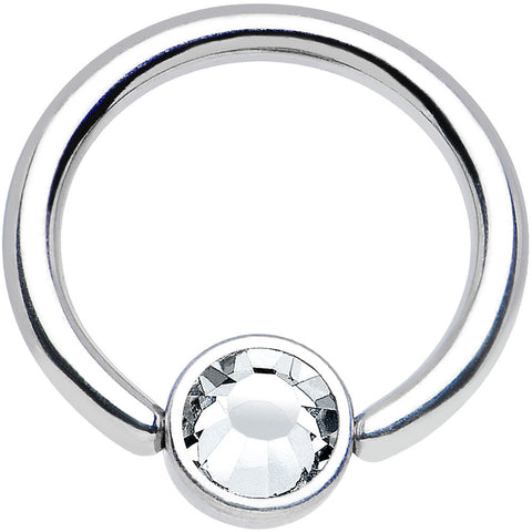 "16 Gauge 5/16"" Clear Gem Steel BCR Captive Ring 4mm Flat Disc"
