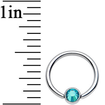 16 Gauge 3/8 Blue Zircon Gem Steel BCR Captive Ring 4mm Flat Disc