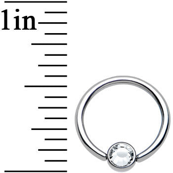16 Gauge 3/8 Clear Gem Titanium BCR Captive Ring 4mm Flat Disc