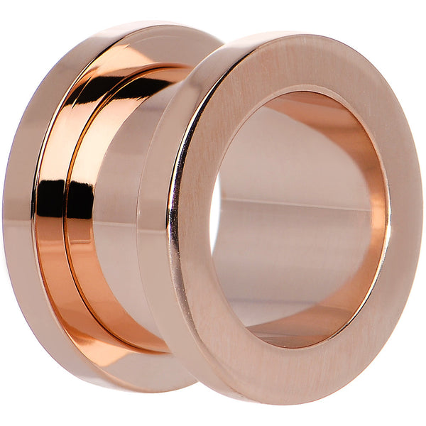 9/16 PVD Rose Gold Titanium Screw Fit Tunnel