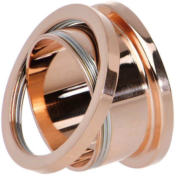 24mm PVD Rose Gold Titanium Screw Fit Tunnel