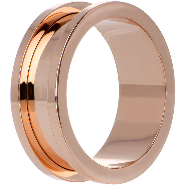 1 inch PVD Rose Gold Titanium Screw Fit Tunnel