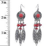 Antiqued Silver Tone Red Faux Stone Dreamcatcher Dangle Earrings
