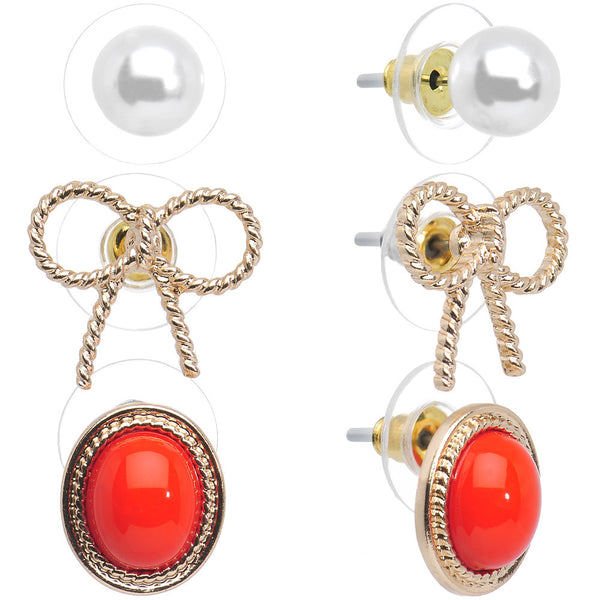 Faux Pearl Sweet Gold Bow Light Red Stud Earring 3 Pair Set