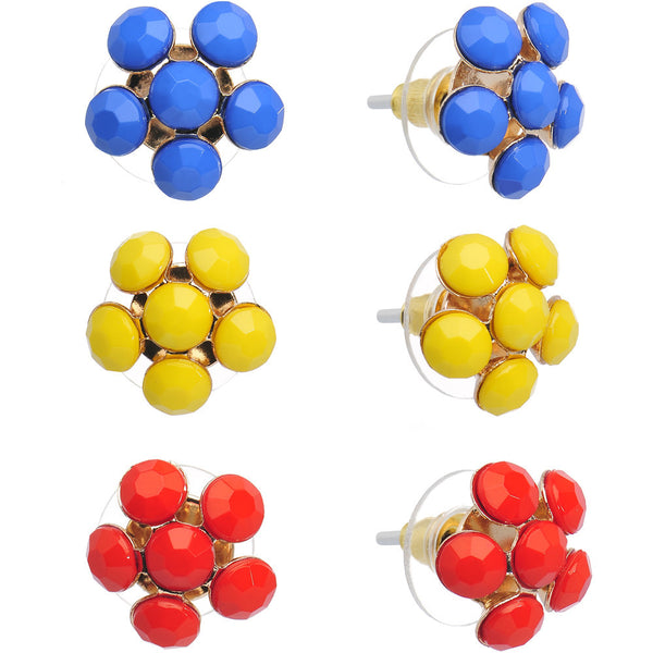 Bright Blue Yellow and Red Summer Flowers Stud Earring 3 Pair Set