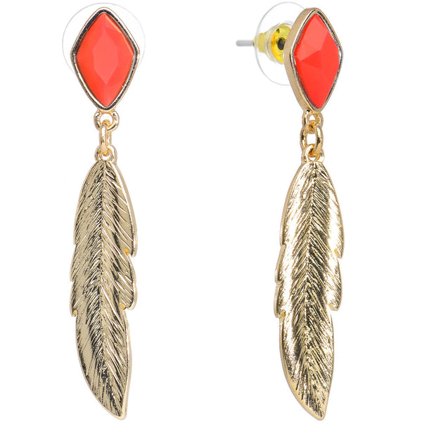 Cherry Red Faux Stone Gold Tone Feather Dangle Earrings
