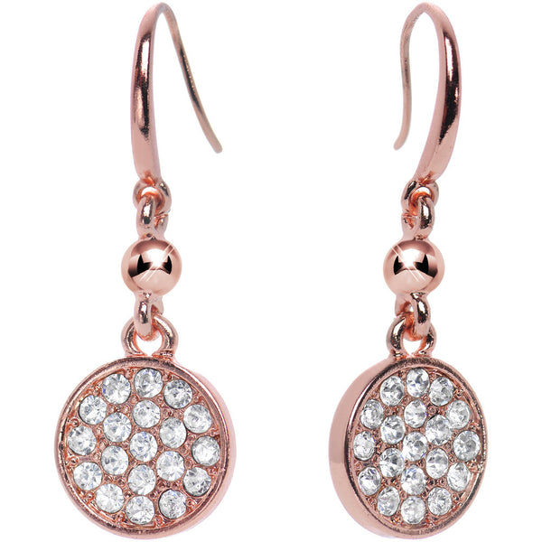 Clear Gem Paved Circle Rose Gold Tone Dangle Earrings