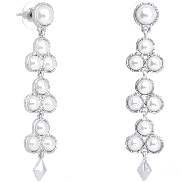 Faux Pearl Waterfall of Flower Blossoms Dangle Earrings