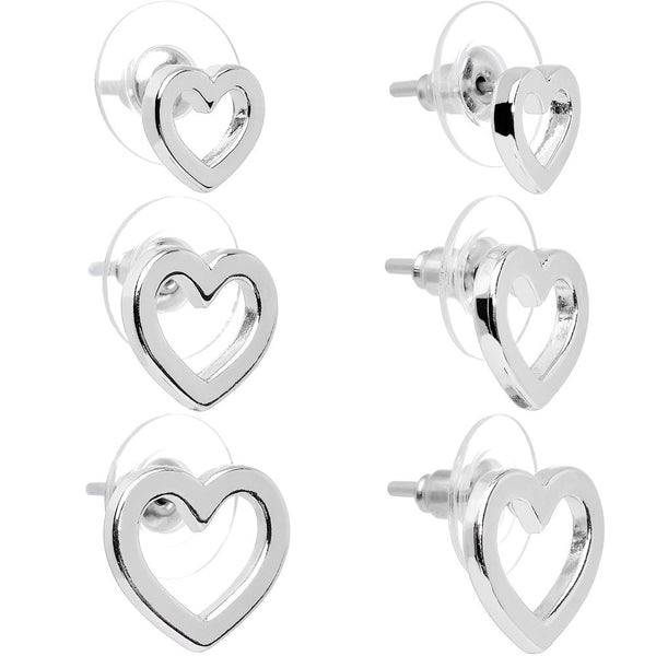 Lots of Love Silver Tone Hollow Heart Stud Earring 3 Pair Set