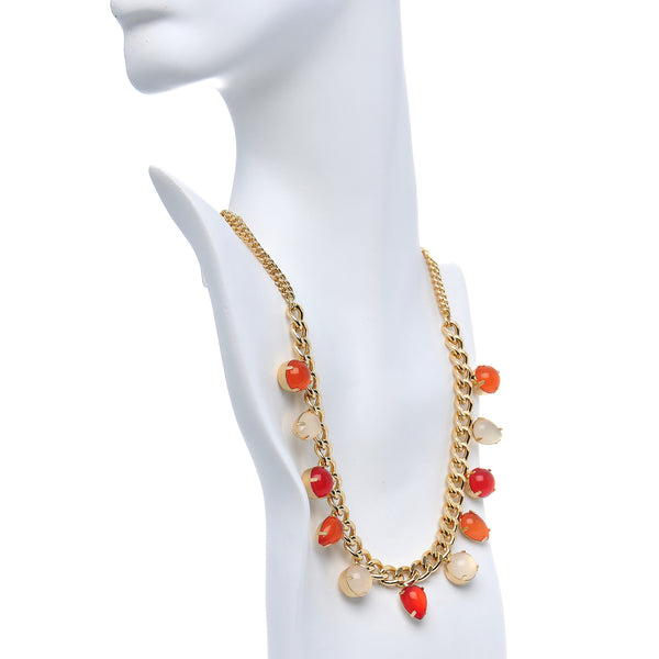 Fire Ice Multi Teardrop Round Faux Stone Stud Earrings Necklace Set