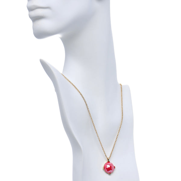 Gold Tone Faux Red Stone Dome Stud Earrings Necklace Set