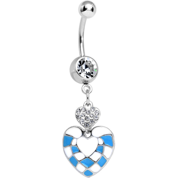 Clear Gem Blue and White Checkerboard Queen Heart Dangle Belly Ring