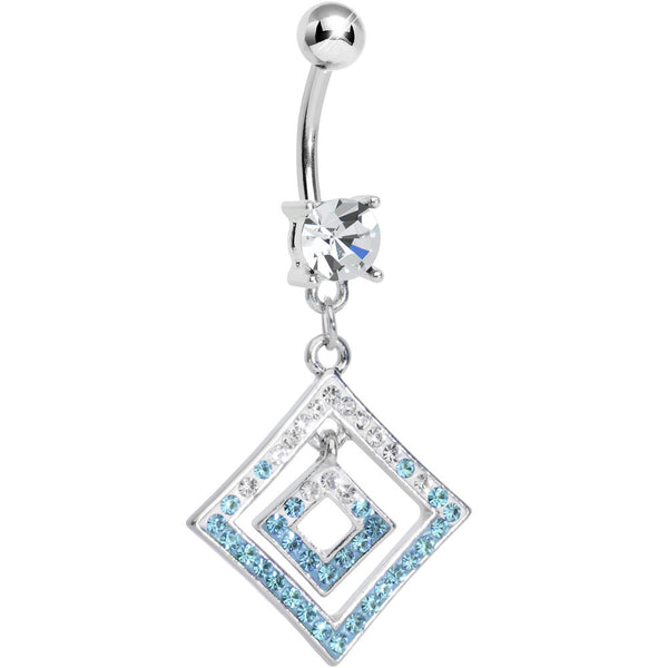 Clear Gem Double Clear and Aqua Paved Diamond Dangle Belly Ring