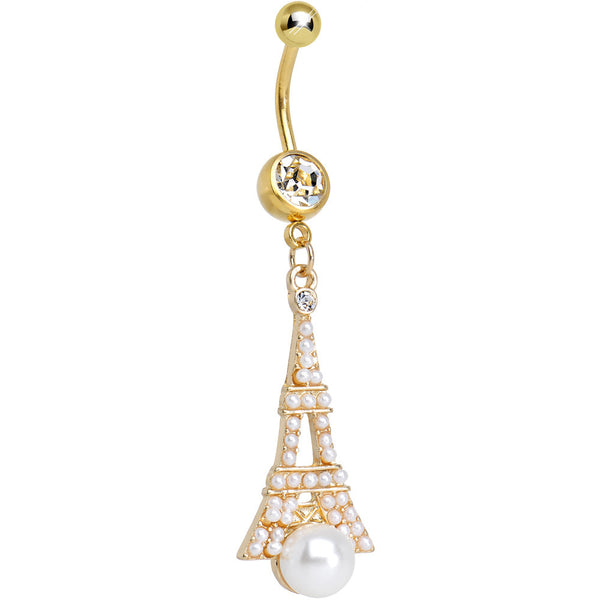 Clear Gem Faux Pearl Gold Plated Ornate Eiffel Tower Dangle Belly Ring