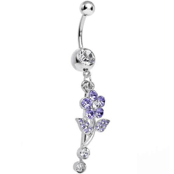 Clear Gem Sparkling Purple Daisy Flower Dangle Belly Ring