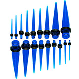 14 to 00 Gauge Blue Acrylic Straight Taper 18 Piece Ear Stretching Kit