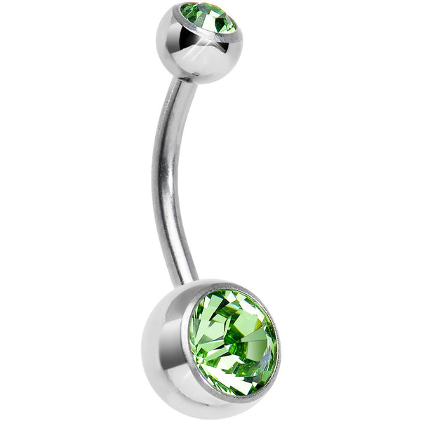 Green Mermaid Double Gem Titanium Belly Ring 1/2