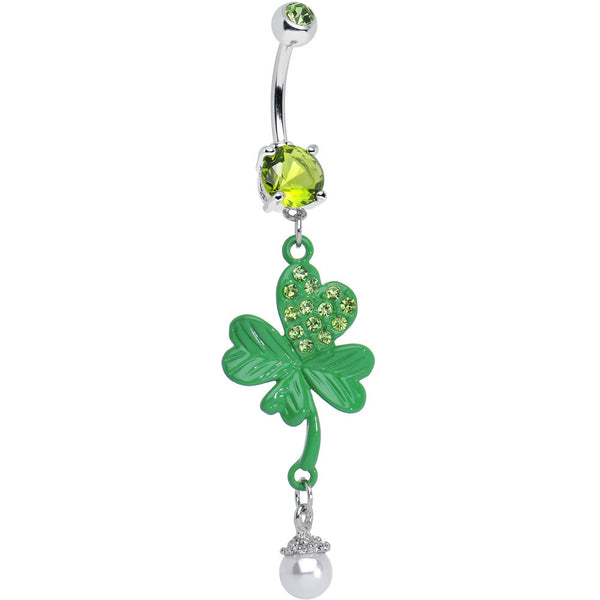 Green Gem Faux Pearl Sparkling Four Leaf Clover Dangle Belly Ring