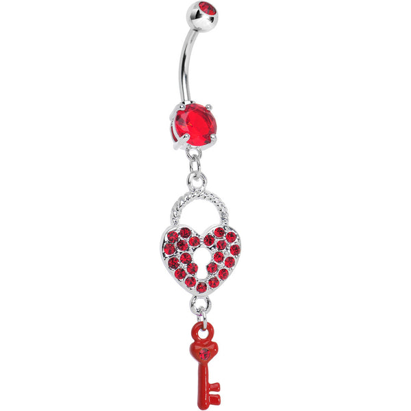 Red Gem Unlock Your Heart Key Dangle Belly Ring