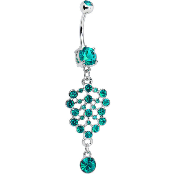 Teal Blue Gem Pool of Sparkle Dangle Belly Ring
