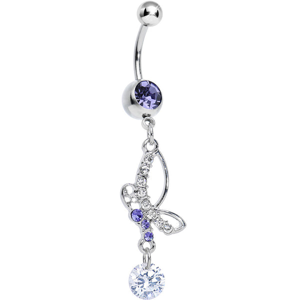 Purple Gem Bejeweled Butterfly Dangle Belly Ring