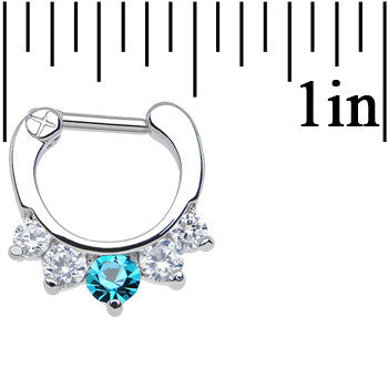 16 Gauge 1/4 Five Clear and Blue Cubic Zirconia Septum Clicker