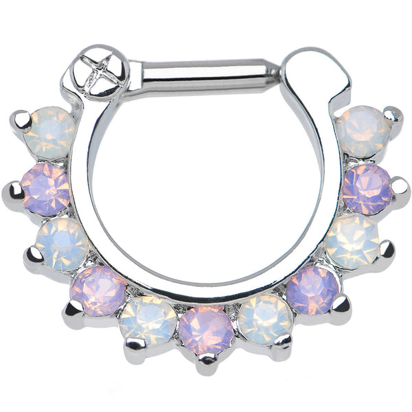 14 Gauge 1/4 Alluring Faux Opal and Light Purple Gem Septum Clicker