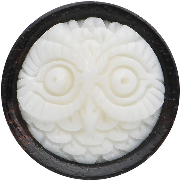9/16 Organic Wood White Buffalo Bone Owl Saddle Plug