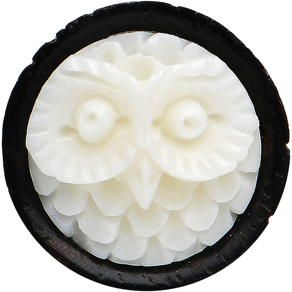 00 Gauge Organic Wood White Buffalo Bone Owl Saddle Plug