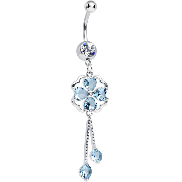 Clear CZ Aqua Four Heart Clover Dangle Belly Ring