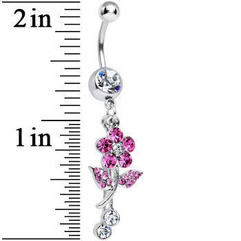 Clear Gem Precious Pink Flower Dangle Belly Ring