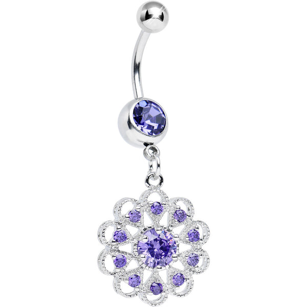 Purple CZ Round Crystal Flower Dangle Belly Ring