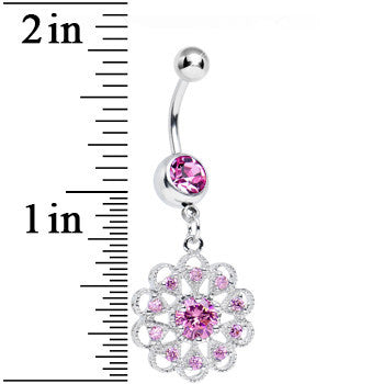 Pink CZ Round Crystal Flower Dangle Belly Ring