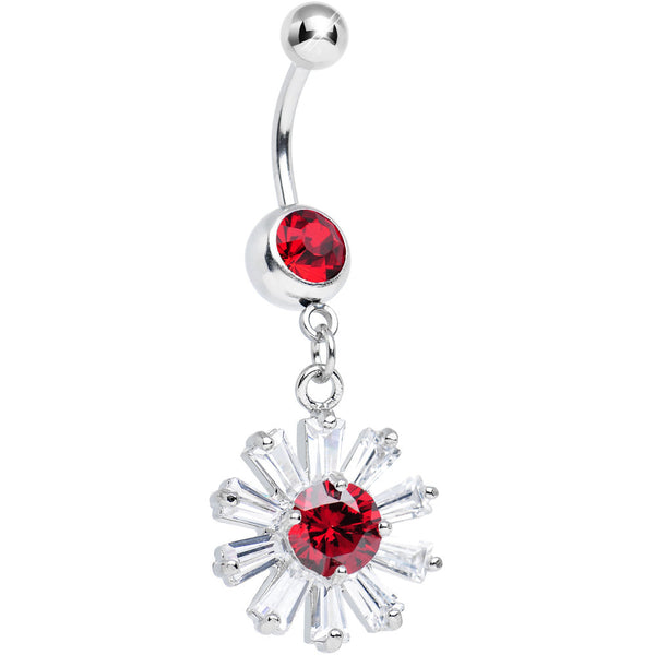 Red CZ Clear Crystal Flower Burst Dangle Belly Ring