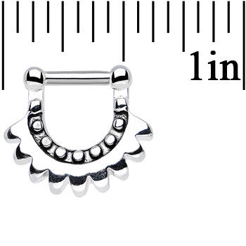 14 Gauge 1/4 Stainless Steel Aztec Moon Septum Clicker