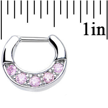 16 Gauge 1/4 Five Pink Cubic Zirconia Septum Clicker