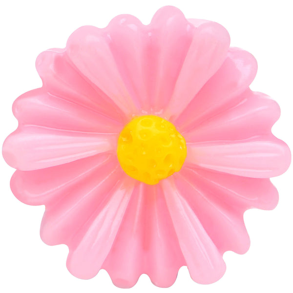 8 Gauge White Acrylic Pink Daisy Flower Single Flare Plug