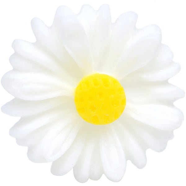 8 Gauge White Acrylic White Daisy Flower Single Flare Plug