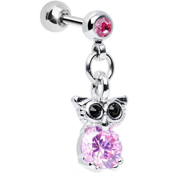 Pink Cubic Zirconia Enlightened Owl Dangle Tragus Cartilage Earring