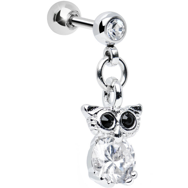 Clear Cubic Zirconia Enlightened Owl Dangle Tragus Cartilage Earring
