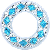 5/8 White Acrylic Crystal Aqua Diamond Tunnel Plug